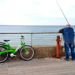 Rented Bike at Tel Aviv Port with Fisherman