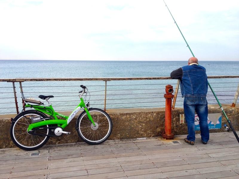 Rented Bike at Tel Aviv Port with Fisherman