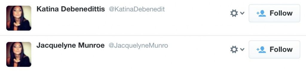 Katina and Jacquelyne spam accounts