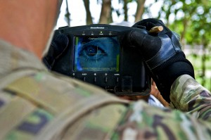 Soldier using 'portable' Iris scanner