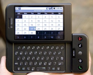 The first Android phone, launched October 2008 (Wikimedia Commons)