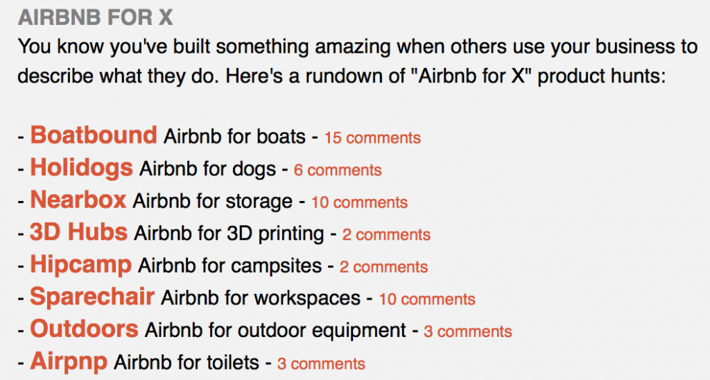 Airbnb for X e-mail from Product Hunt
