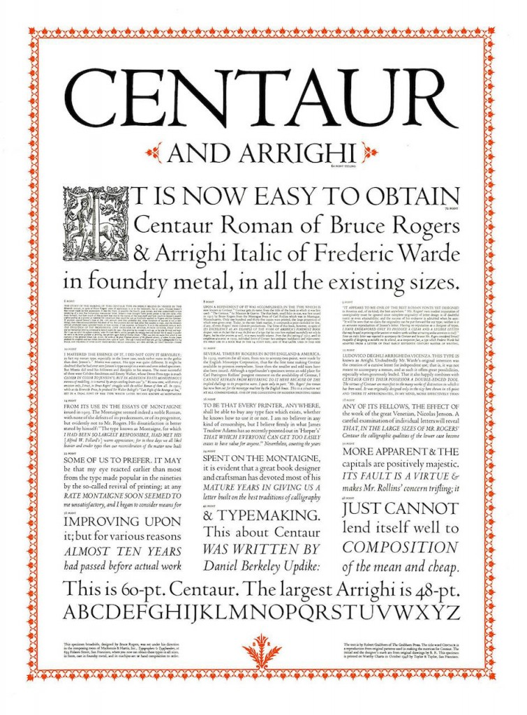 Advertisement for Centaur typeface from 1948
