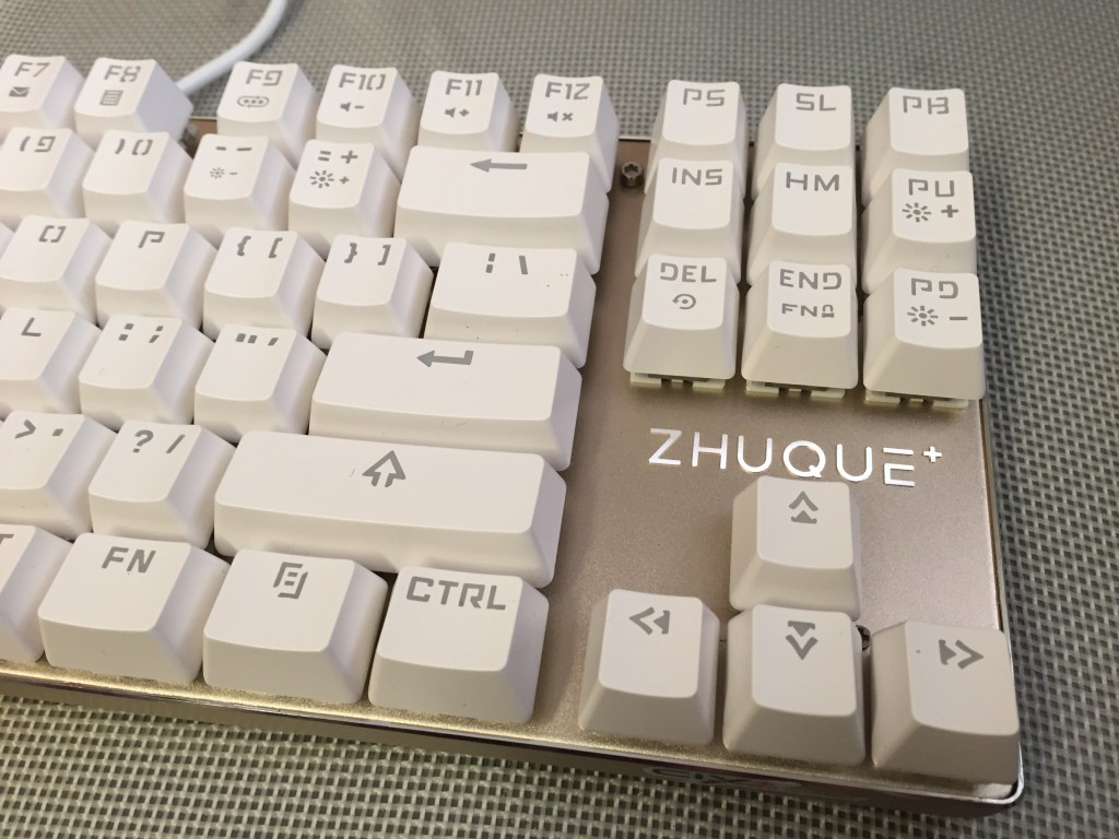 Close up of Team Wolf keyboard with original keycaps