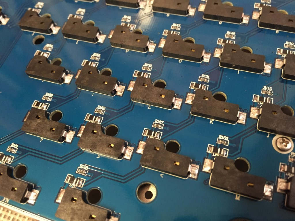 Bottom of Team Wolf circuit board showing switch receivers