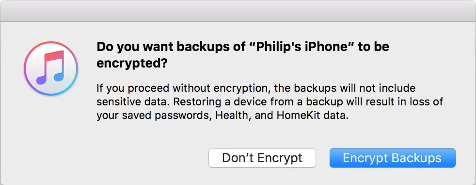 Apple Encryption Pop-Up