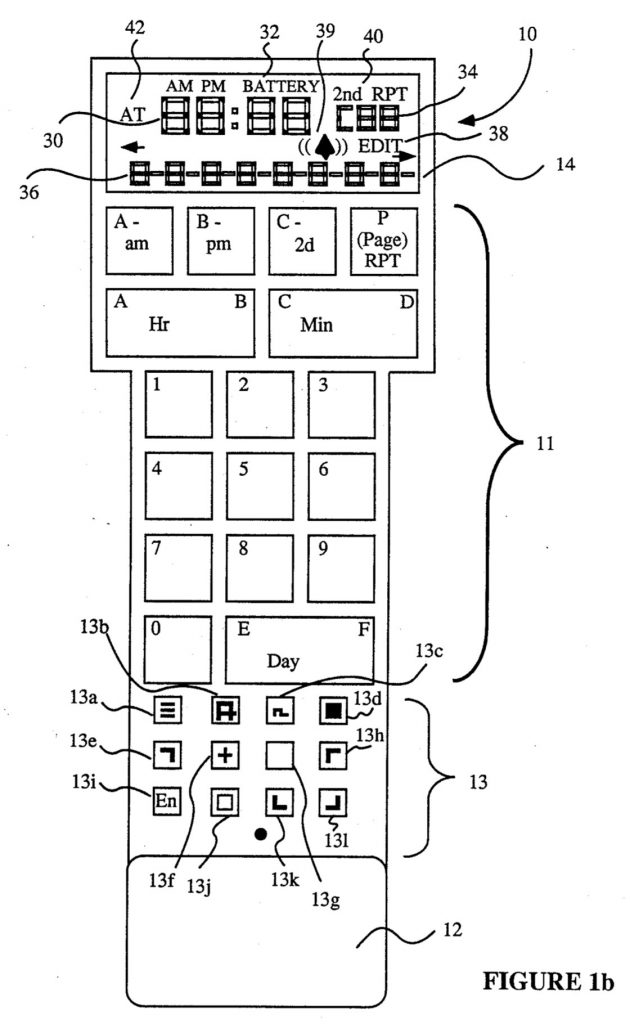 Diagram of the CL-9 CORE remote from a patent filing